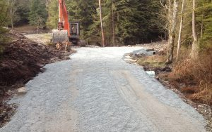 crushed gravel on access road
