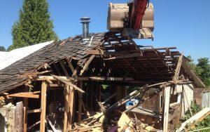 old house demo roof