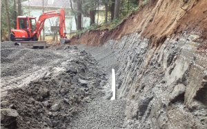 gravel fill over drainage piping