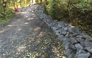 access road rock wall