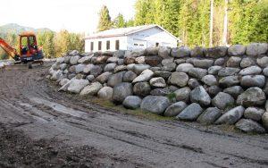 rock wall near drive way