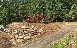 rock wall near access road