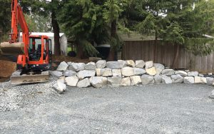 rock wall creates parking