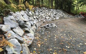 rock wall on driveway