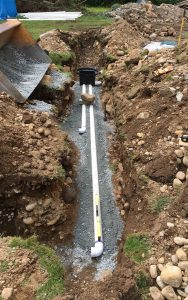 septic piping and gravel cover