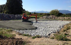 excavator leveling fill